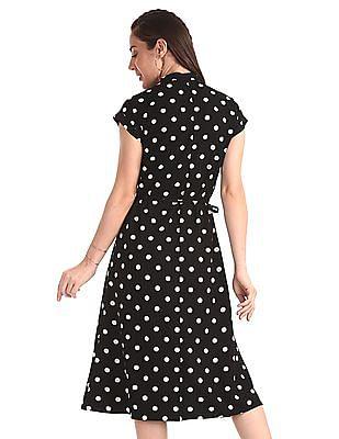 Elle Studio Black Front Slit Polka Dot Shirt Dress