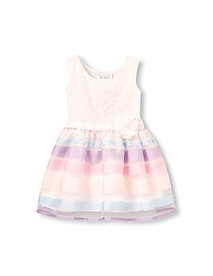 The Children's Place Toddler Girl Sleeveless Lace Striped Knit-To-Woven Dress