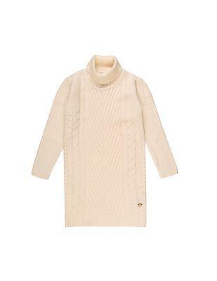 U.S. Polo Assn. Kids Girls Patterned Knit Sweater Dress