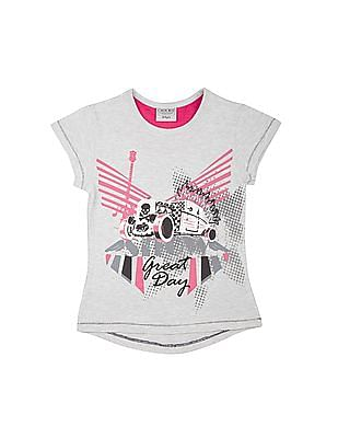 Cherokee Girls Printed High Low Hem T-Shirt