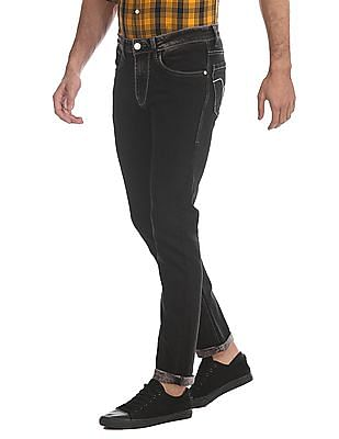 Flying Machine Black Michael Slim Tapered Fit Rinsed Jeans