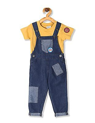 Donuts Blue Boys Cotton Dungaree With T-Shirt