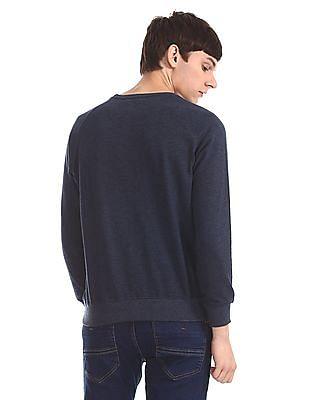 Newport Blue Tonal Print Raglan Sleeve Sweatshirt