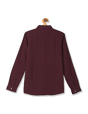 FM Boys Boys Slim Fit Patterned Weave Shirt