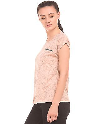 Cherokee Chest Pocket Heathered Top