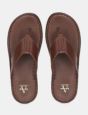 Arrow Men Brown V-Strap Leather Sandals