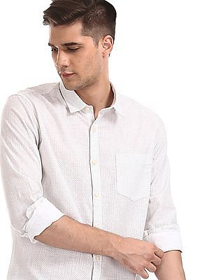 Ruggers White Mitered Cuff Printed Shirt