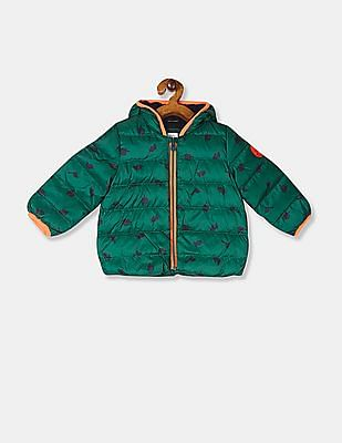 GAP Baby Boy Green Dinosaur Graphic Puffer Jacket