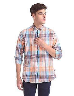 Nautica Long Sleeve Yarn Dyed Large Plaid Poplin Shirt