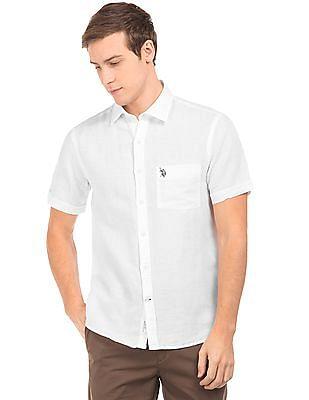 U.S. Polo Assn. Short Sleeve Linen Cotton Shirt