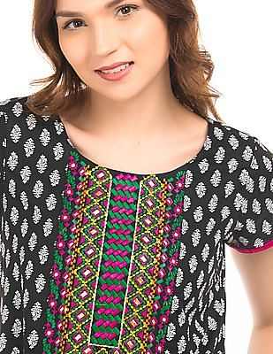 Anahi Embroidered Overlay Cotton Kalidar Kurta