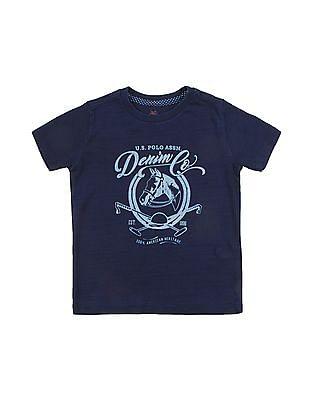 U.S. Polo Assn. Kids Boys Brand Print Crew Neck T-Shirt