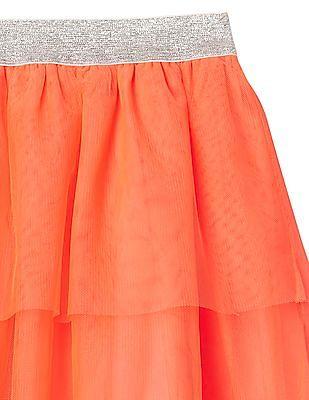 GAP Girls Orange Tulle Tiered Flippy Skirt