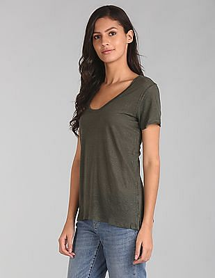 GAP Women Green Short Sleeve Scoop Neck T-Shirt In Linen