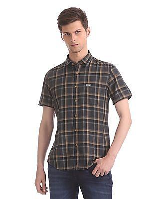 U.S. Polo Assn. Denim Co. Grey Short Sleeve Check Shirt