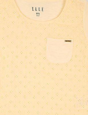 Elle Kids Girls Schiffli Front Short Sleeve Top