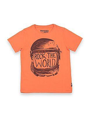 FM Boys Boys Printed Front Slim Fit T-Shirt