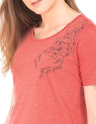 Flying Machine Women Heathered Round Neck T-Shirt