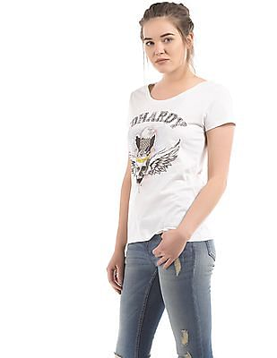EdHardy Women Printed Front Cotton T-Shirt