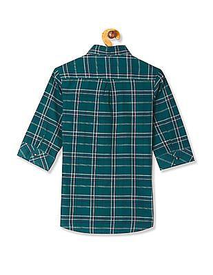 Flying Machine Women Green Three Quarter Sleeve Check Shirt