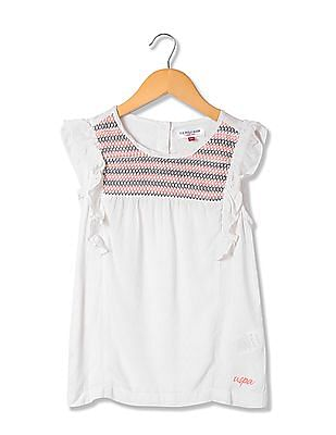 U.S. Polo Assn. Kids Girls Smocked Dobby Top