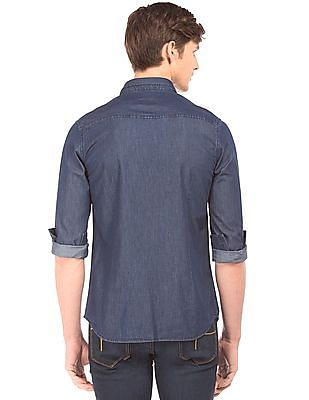 Flying Machine Washed Slim Fit Chambray Shirt