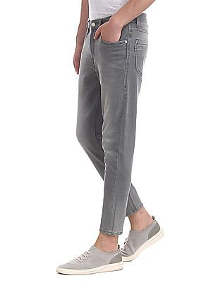 Flying Machine Grey Mankle Slim Fit Washed Jeans