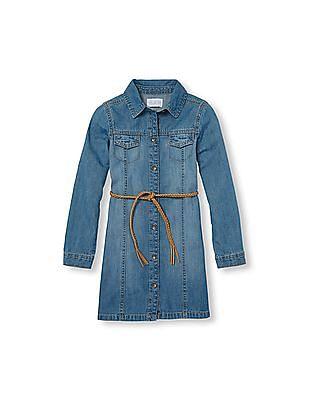 The Children's Place Girls Long Sleeve Belted Button-Down Denim Dress