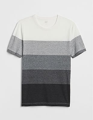 GAP Men Grey Stripe Short Sleeve Crewneck T-Shirt