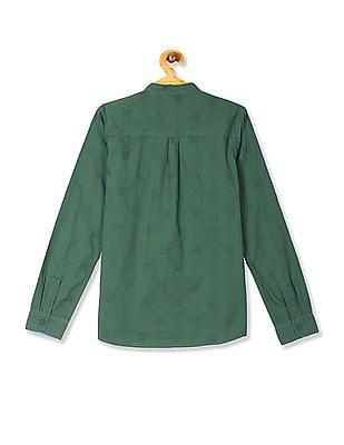 Cherokee Boys Mandarin Collar Tonal Pattern Shirt