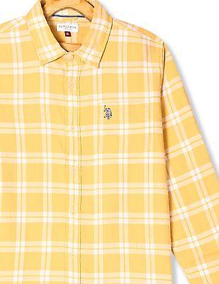 U.S. Polo Assn. Kids Yellow Boys Check Twill Shirt