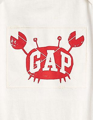 GAP Baby White Logo Crab Bodysuit