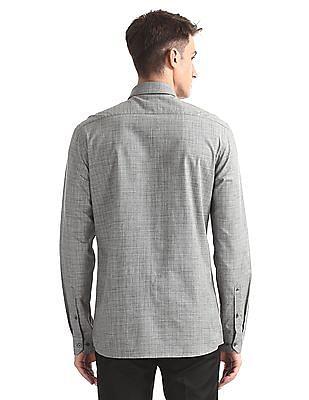 Arrow Newyork Grey French Placket Check Shirt
