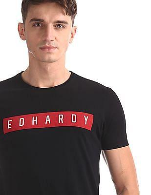 Ed Hardy Black Brand Print Crew Neck T-Shirt