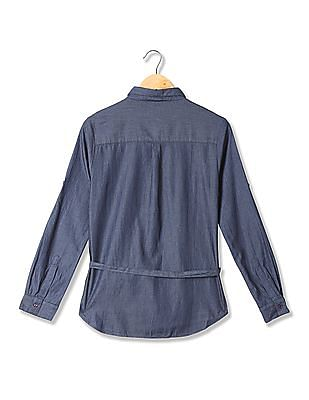 U.S. Polo Assn. Women Belted Chambray Shirt