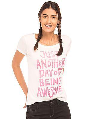 Flying Machine Women Printed Cotton T-Shirt