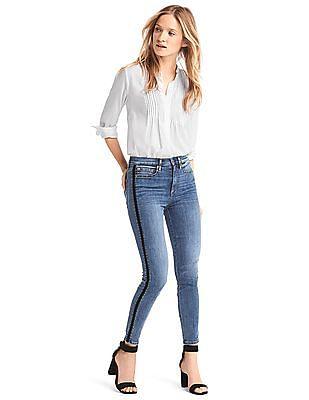 GAP Super High Rise Velvet-Trim True Skinny Jeans