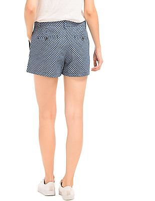 GAP Women Blue Print Summer Shorts