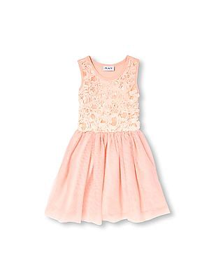 The Children's Place Girls Sleeveless Sequined Lace Tutu Dress
