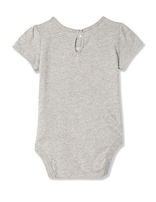 GAP Baby Grey Short Sleeve Brand Applique Bodysuit