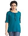 Cherokee Green Lace Accent Tie Up Neck Top