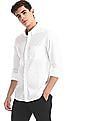 Arrow Sports White Button Down Collar Printed Shirt
