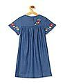 Cherokee Blue Girls Embroidered Accent Chambray Dress