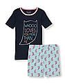 The Children's Place Girls Short Sleeve Glow In The Dark 'Whoo Loves You More Than Me' Top And Owl Print Shorts Pj Set