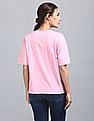 GAP Women Pink Drop Shoulder Boxy Tee With All Over Print