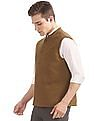 Arrow Slim Fit Textured Weave Nehru Jacket
