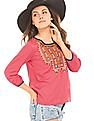 Bronz Embroidered Front Woven Top