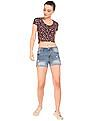 Aeropostale Floral Print Cropped T-Shirt