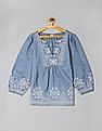 GAP Blue Embroidered Bib Front Blouse