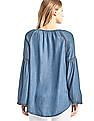 GAP Women Blue Tencel Denim Embroidered Blouse